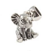 Baby Elephant 3D Sterling Silver Dangle Charm / Carrier Bead